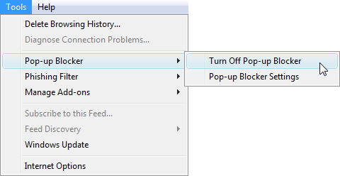 How to unblock an explorer popup
