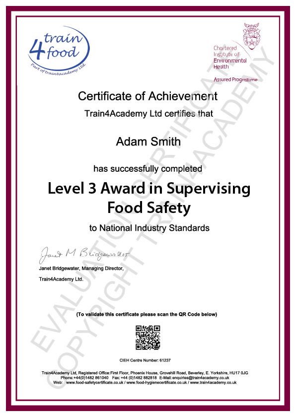 A Level 3 Food Safety Certificate sample learners will receive