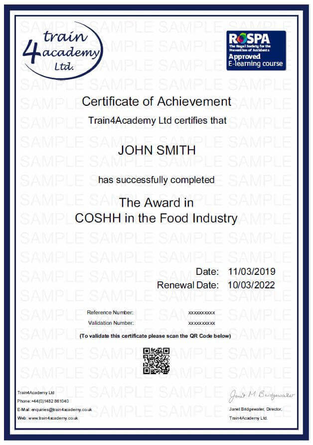 COSHH in the Food Industry Certificate