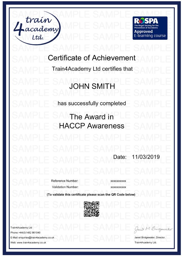 HACCP Training Level 1 - Awarness - Certificate Example