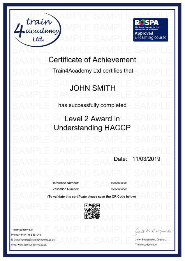 Understanding HACCP Training Level 2 - Certificate Example