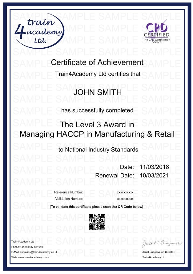 HACCP Level 3 Manufacture - Certificate Example