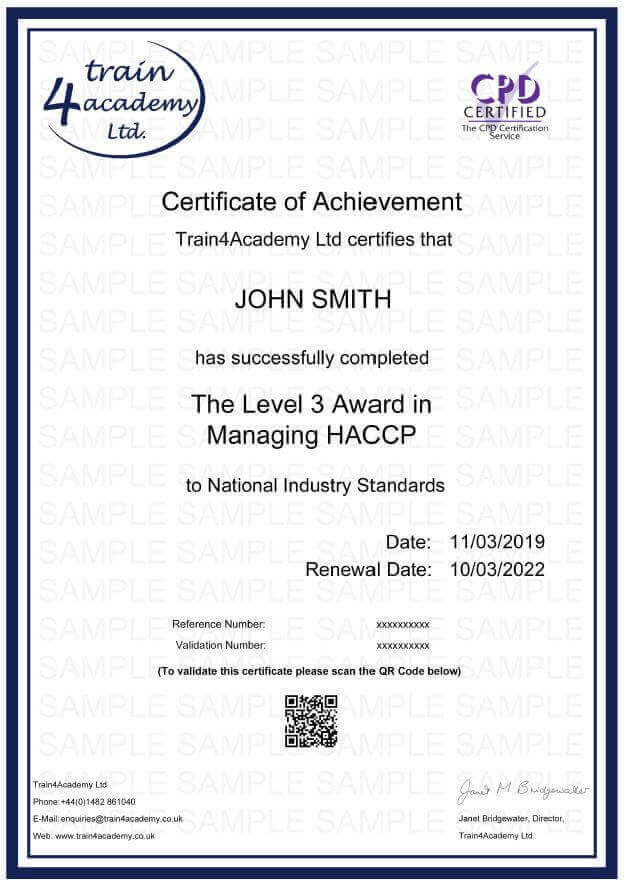 HACCP Level 3 Managing - Certificate Example