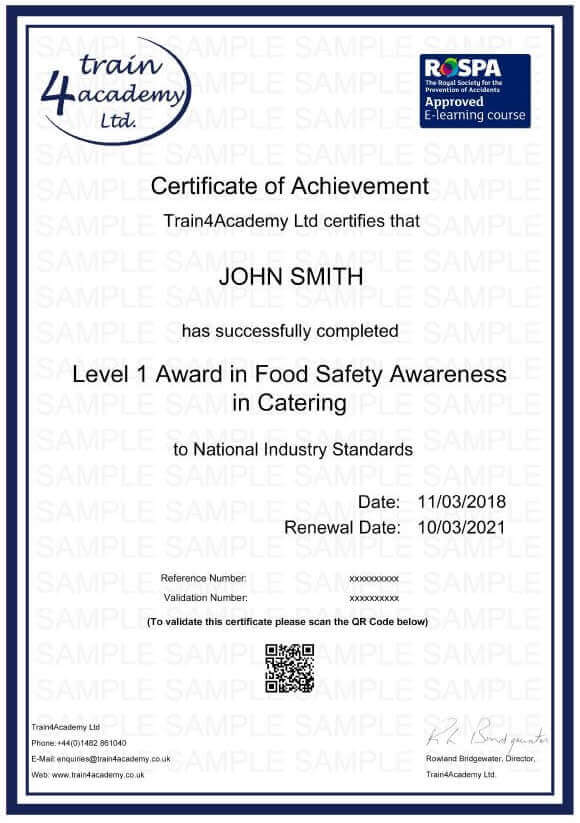 Level 1 Food Hygiene for Catering - Certificate Example