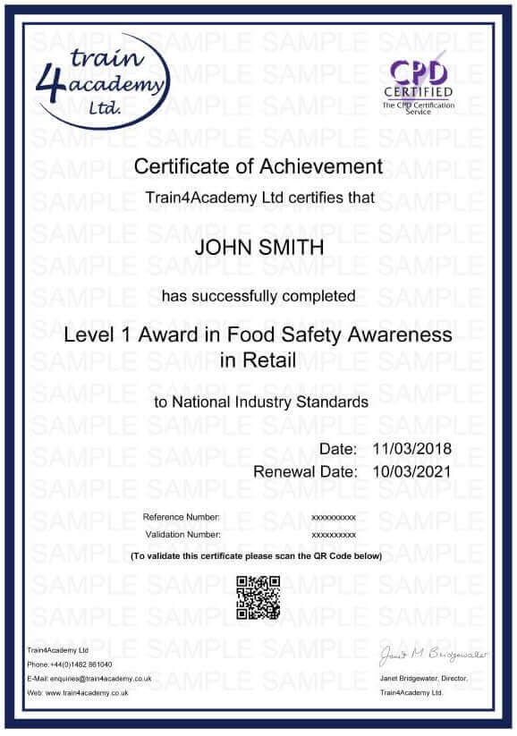 Level 1 Food Hygiene for Retail - Certificate Example