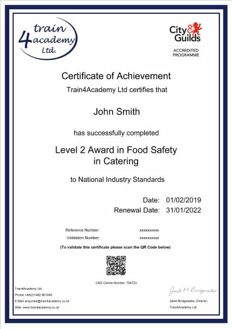 Level 2 Food Hygiene Certificate- Example