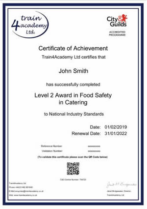 Level 2 Food Hygiene Certificate Sample
